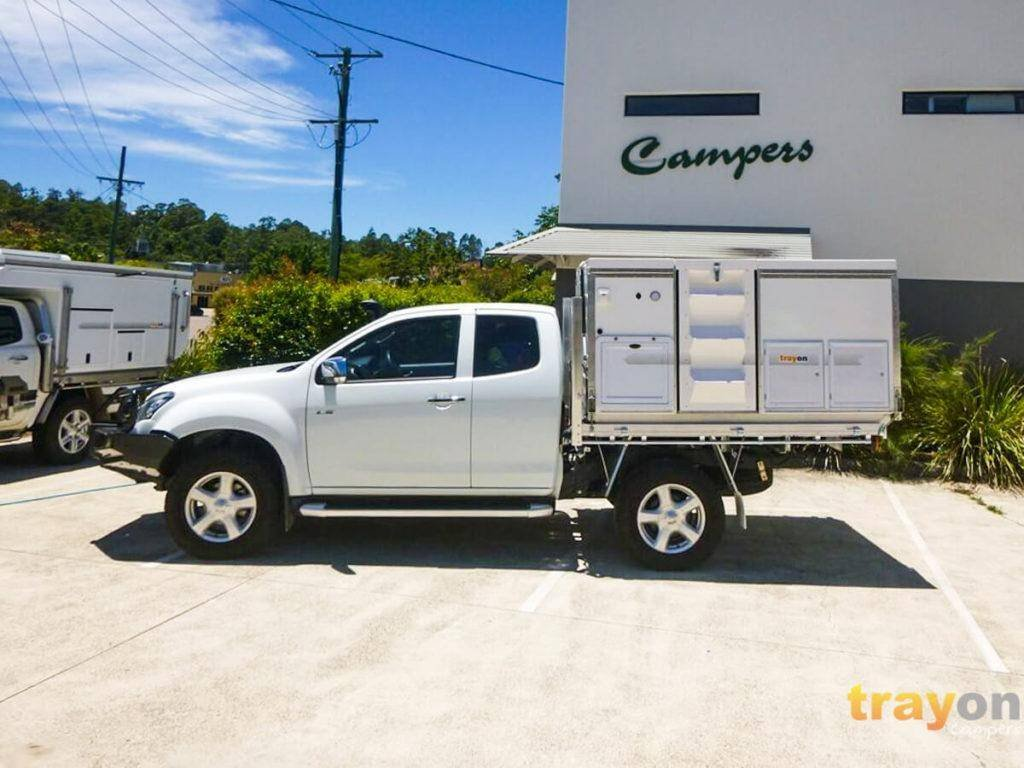 White Space Cab 2018 Isuzu Dmax 4x4 ute with Trayon Slide on Camper