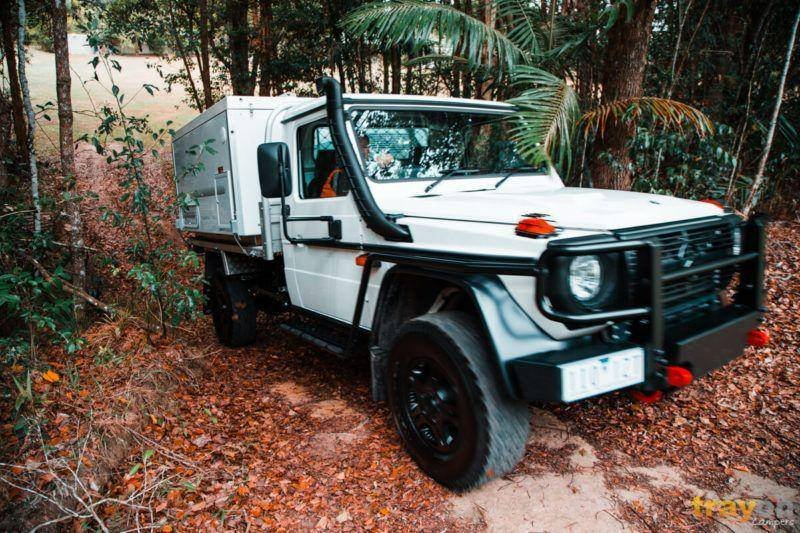 Mercedes G300 Professional Ute Australia - Trayon Slide on Camper on incline offroad rain forest